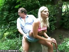 Blonde Mature Old and Young Outdoor Teen