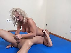 Big Boobs Blonde Blowjob Femdom Handjob