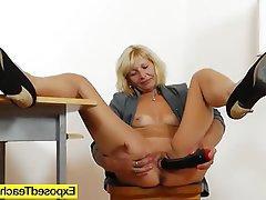 Blonde Masturbation MILF Stockings