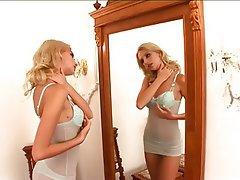 Blonde Lingerie Masturbation Teen