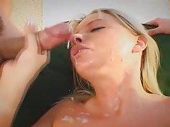 Blonde Blowjob Facial Handjob