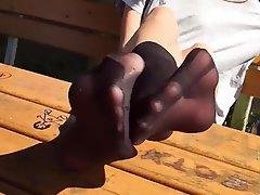 Foot Fetish Pantyhose Outdoor Stockings