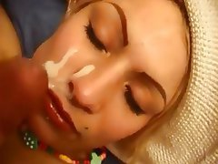 Amateur Babe Blonde Facial Old and Young