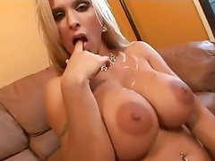 Big Boobs Blonde Blowjob Close Up Cumshot