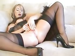 Lingerie Masturbation MILF Orgasm Stockings
